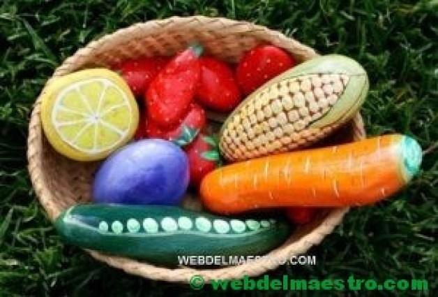 Pintar piedras-frutas y verduras