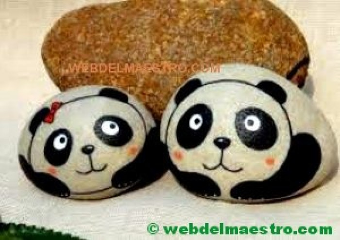 Pintar piedras-oso panda-1