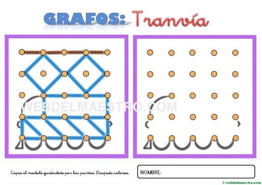 Dibujos para unir puntos-tranvía