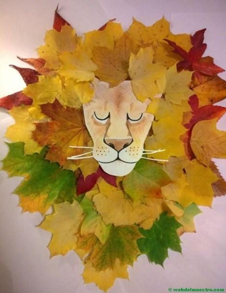 León-2 con hojas de otoño-Terminación del trabajo