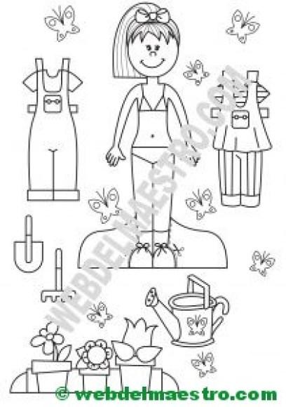 Muñeca recortable con equipo de jardinera