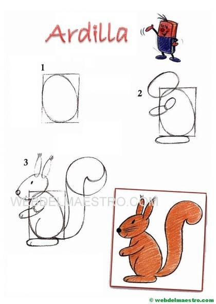 dibujos fáciles paso a paso-ardilla