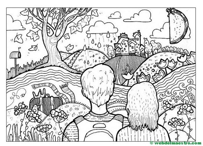 Dibujo antiestrés-Paisaje