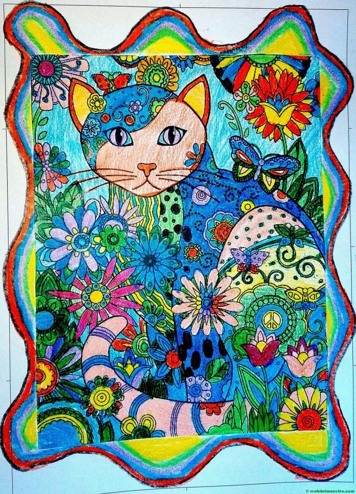 Gato-Dibujo antiestrés-Terminación color