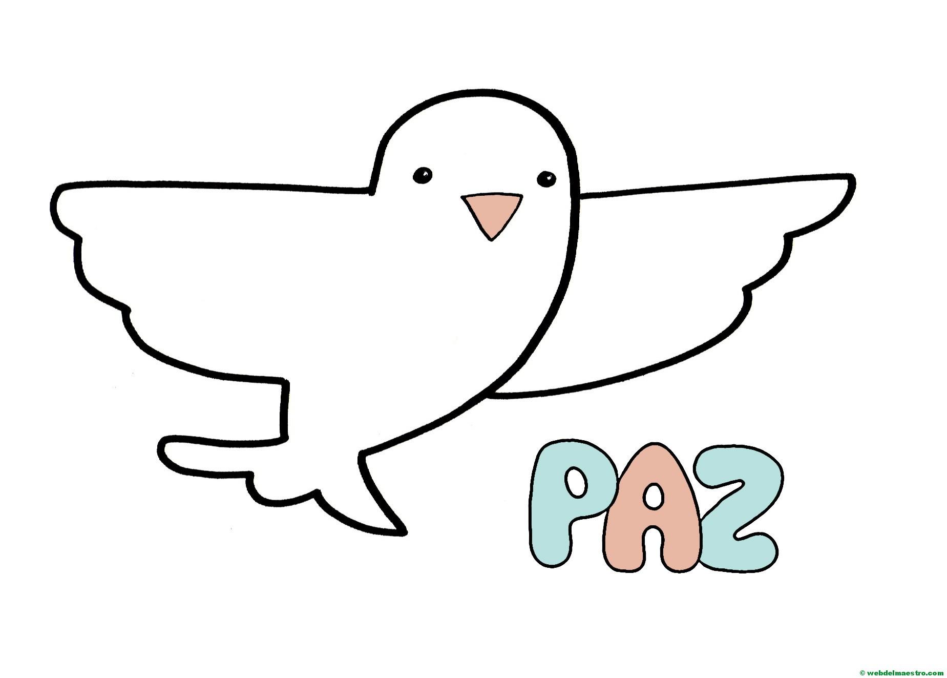 Paloma de la Paz para 2 años color-II - Web del maestro