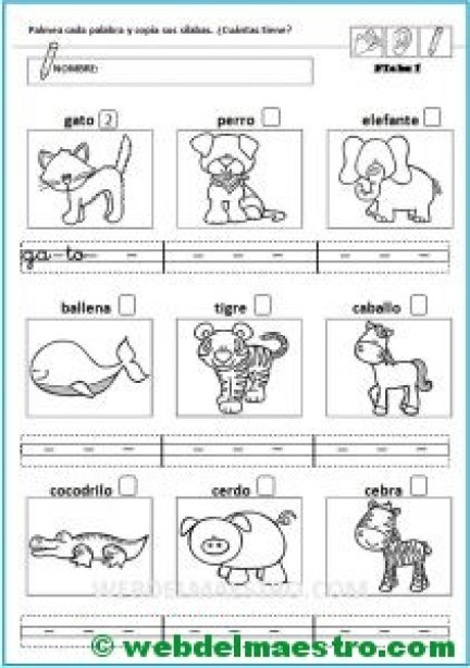 Separar sílabas | Contar sílabas - Web del maestro