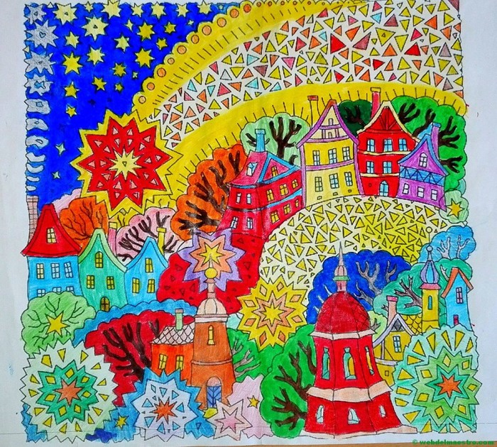 Dibujos de navidad a color-Estrellas de navidad con paisaje