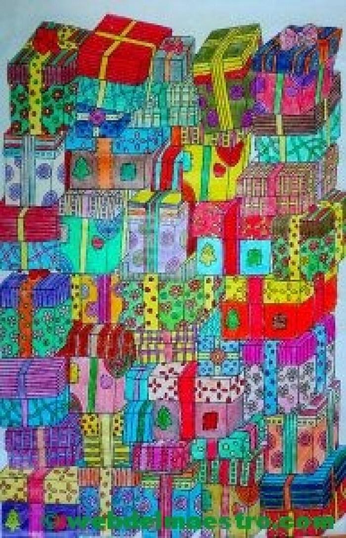 Dibujos de navidad a color-regalos de Navidad