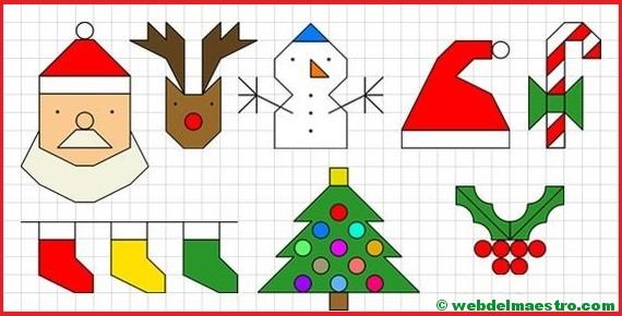 Dibujos de Navidad en cuadrícula
