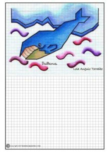 Dibujos de animales en cuadrícula-Ballena-2