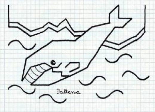 Dibujos en cuadritos de ballena para imprimir