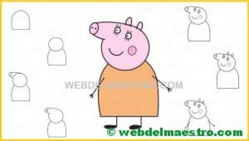 aprender a dibujar a mamá cerdita de Peppa Pig-