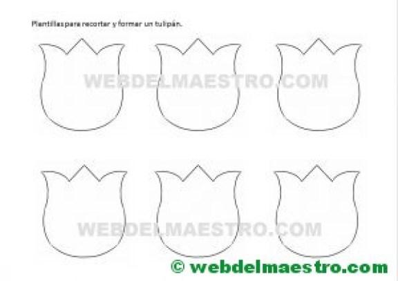 plantillas para hacer tulipanes de papel