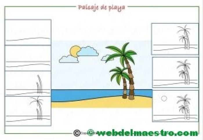 Como dibujar un paisaje de playa para niños