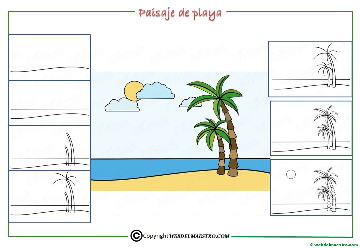 Como Dibujar Un Paisaje De Playa Para Niños Web Del Maestro