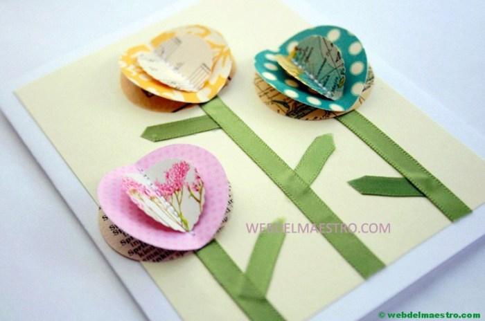manualidades para el día de las madres- flores con materiales reciclados