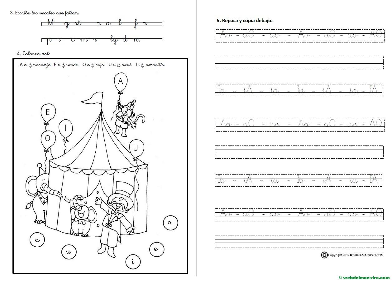 Actividades De Lectoescritura Las Vocales Letra Cursiva Web Del Maestro