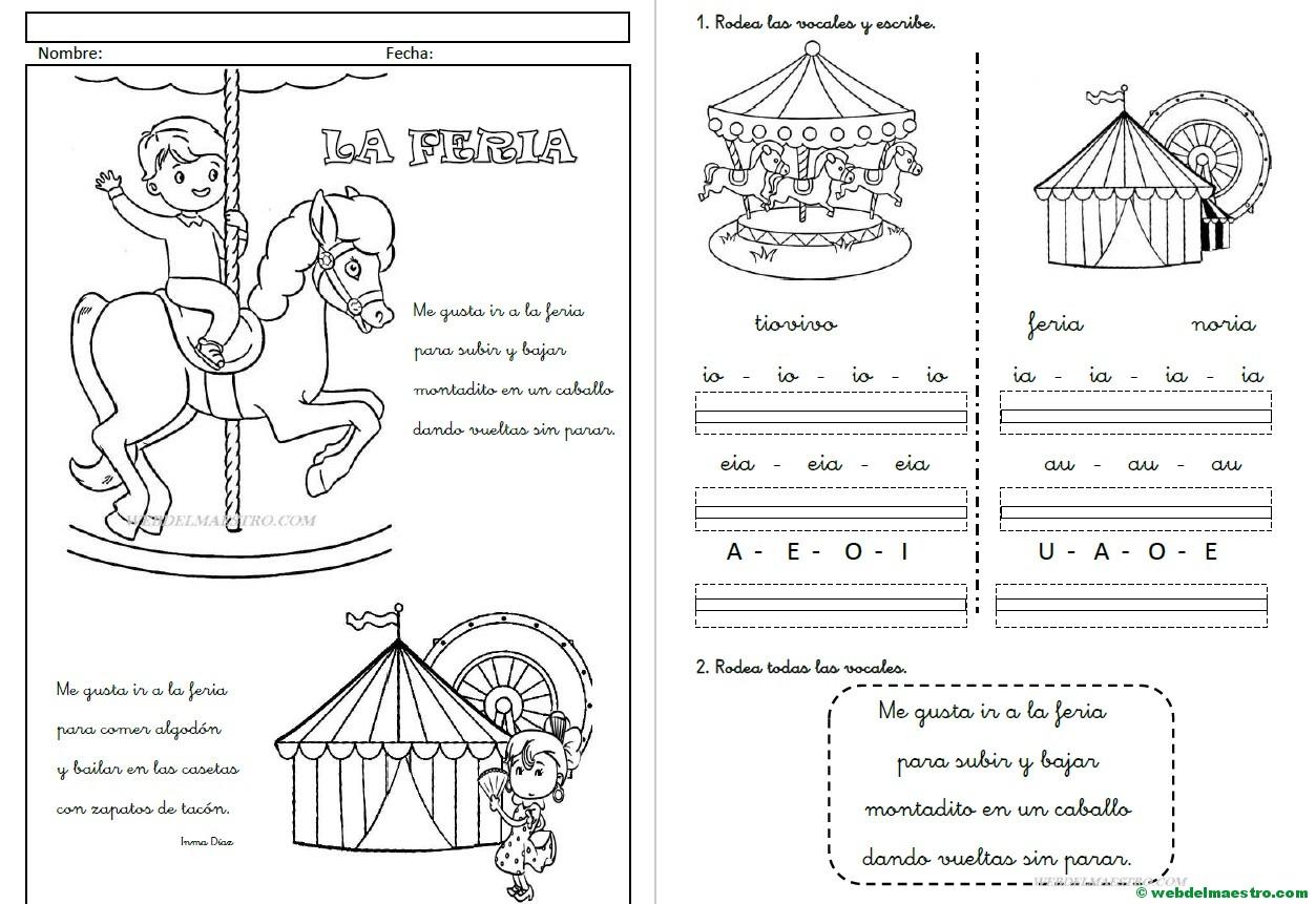Fichas De Lectoescritura Las Vocales Letra Cursiva Web Del Maestro