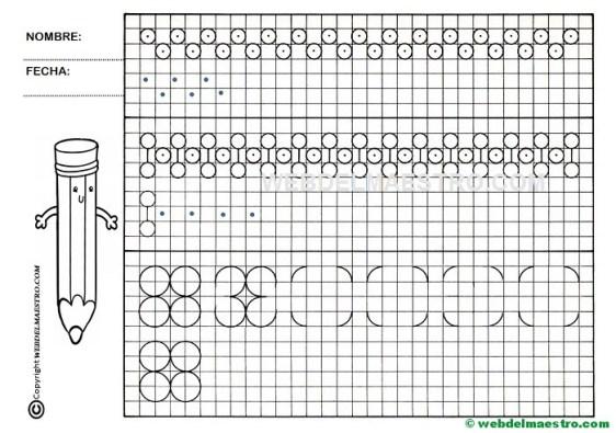 Grafomotricidad-Trazos en cuadricula-Ficha nº 12