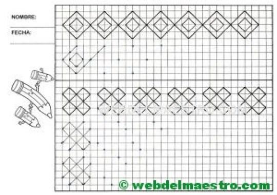 Grafomotricidad-Trazos en cuadricula-Ficha nº 14