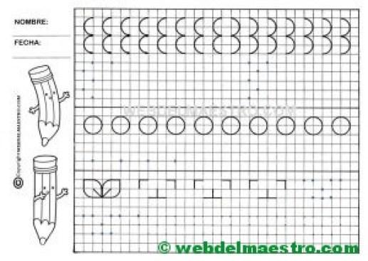 Grafomotricidad-Trazos en cuadricula-Ficha nº 3