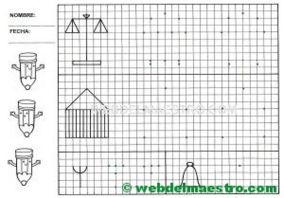 Grafomotricidad-Trazos en cuadricula-Ficha nº 8
