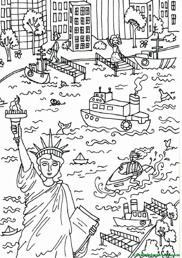 Póster Gigante Para Colorear De Nueva York Estatua De La