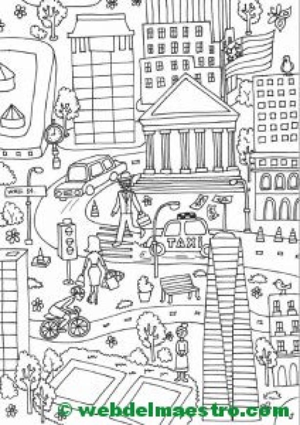 Póster gigante para colorear de Nueva York-Wall Street