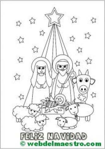 Dibujo de Navidad con el nacimiento de Jesús