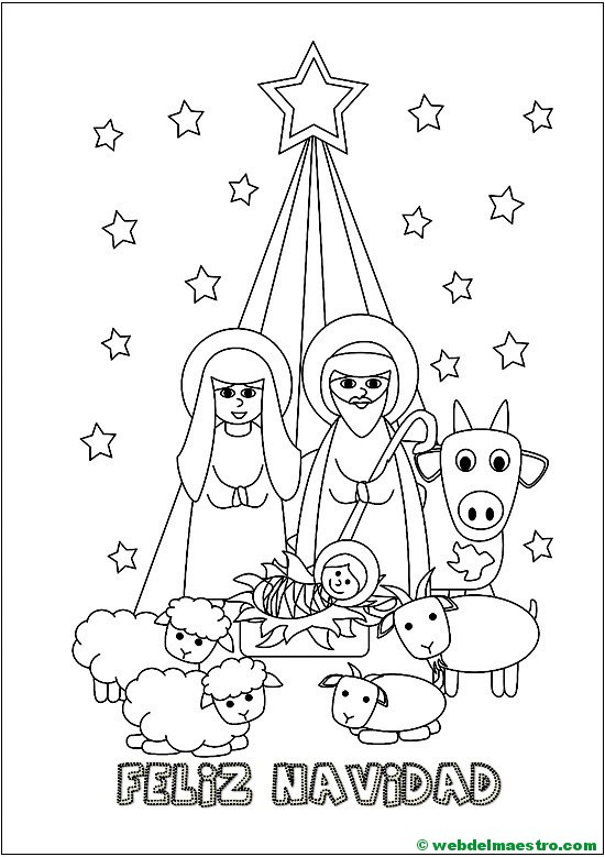 Dibujos De Navidad Con Jesus.Dibujo De Navidad Con El Nacimiento De Jesus Web Del Maestro