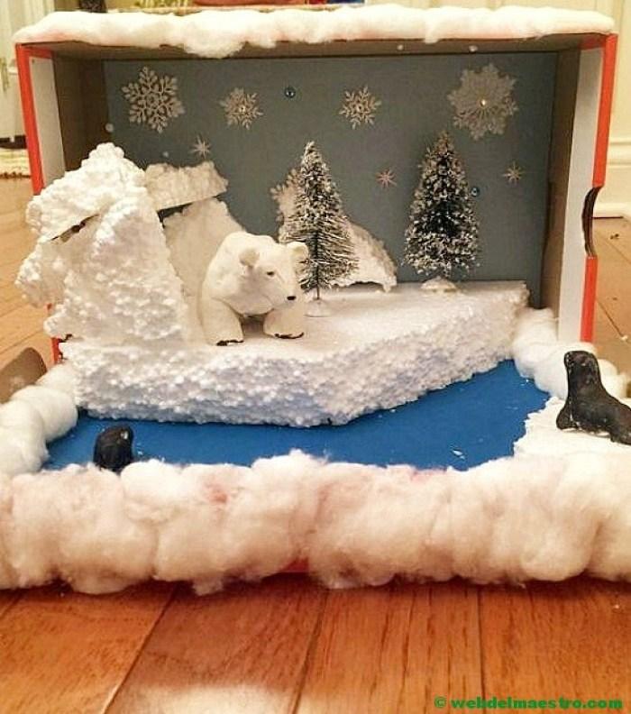 Diorama - animales de la zona polar-