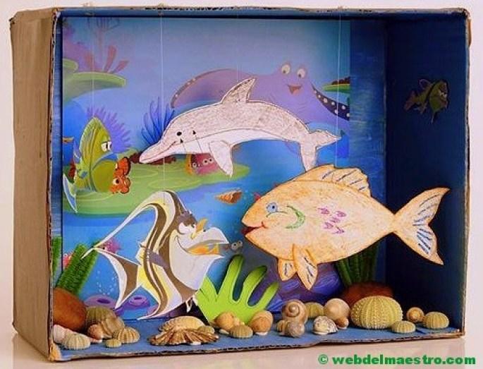 Diorama - animales del mar-