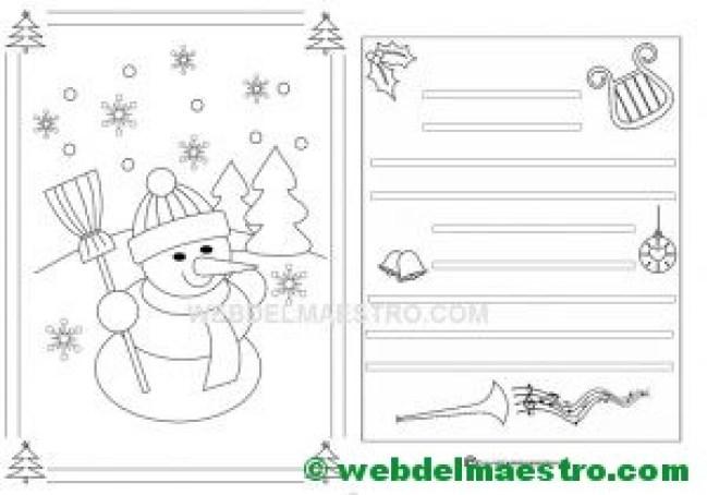 postal navideña con muñeco de nieve