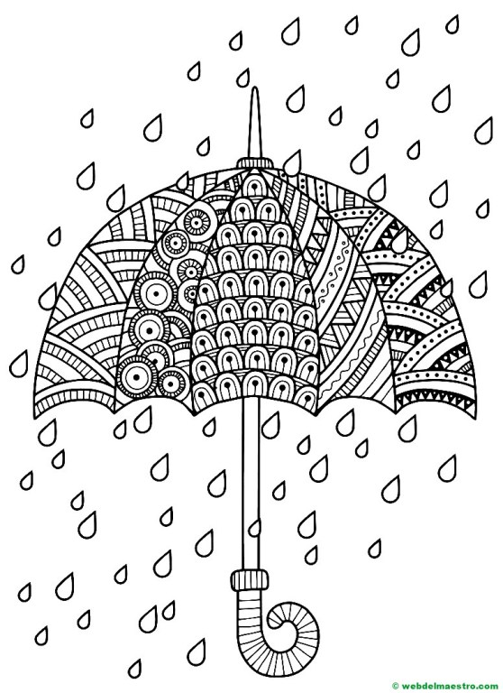 paraguas para colorear