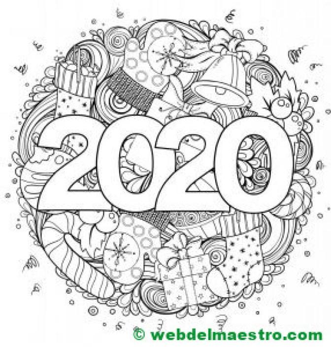13. Colorear 2020 dibujo