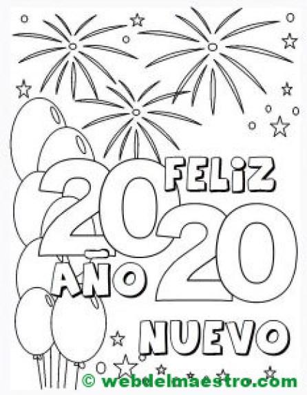 3. Colorear dibujo Feliz Año Nuevo 2020