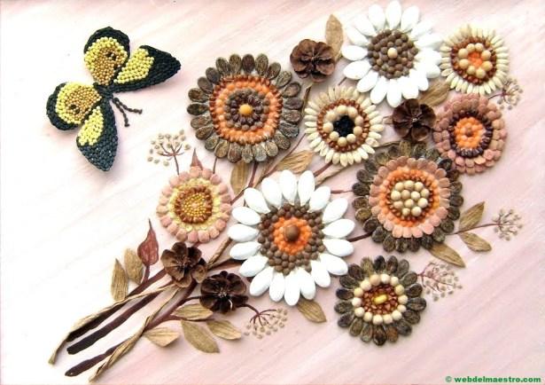 Ramo de flores realizado con legumbres