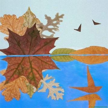 Paisaje realizado con hojas secas