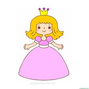 princesa-dibujo en color para pegar gomets