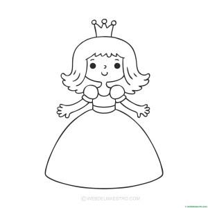 princesa-dibujo para pegar gomets