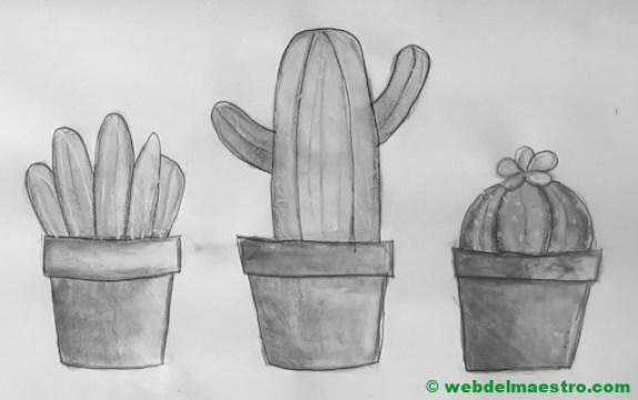 dibujos para dibujar a lápiz de cactus
