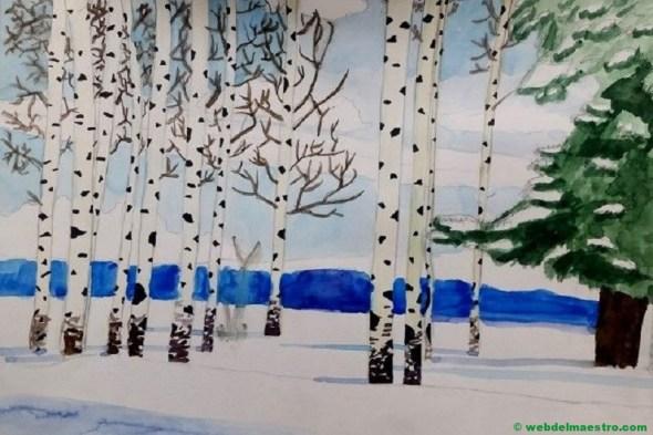 Dibujo de paisaje con lápices de acuarela