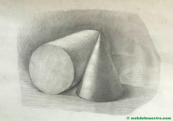 cono y cilindro con sombra