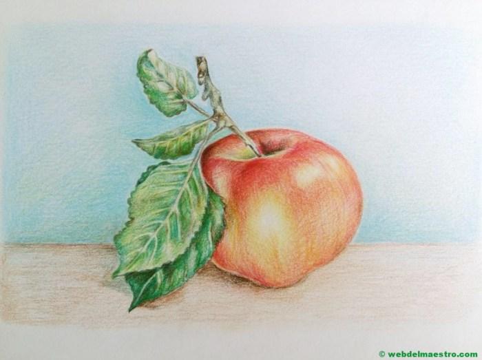 dibujo de manzana a lápiz de color-terminación