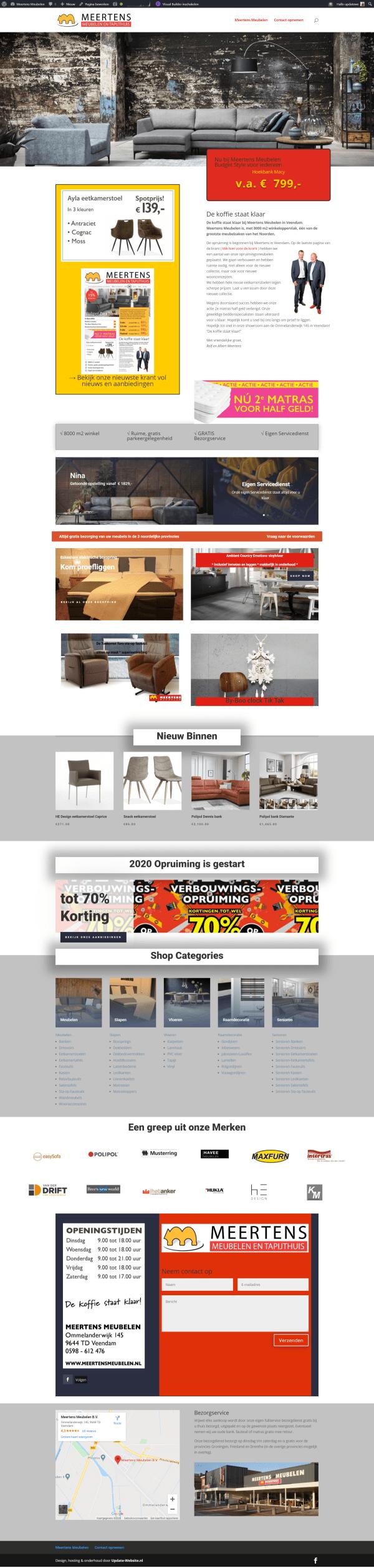 webdesign drenteh Oosterhesselen Meertens meubelen veendam nieuwe website laten bouwen