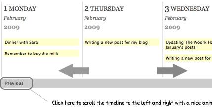 Elegant animated weekly timeline for websites