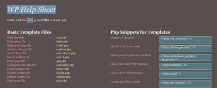 WP Help Sheet