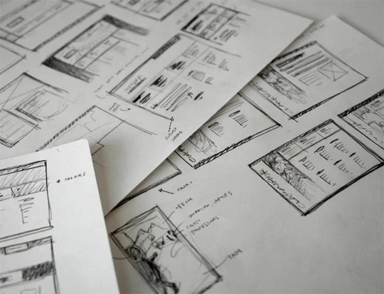 sketched wireframes
