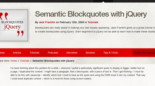 Semantic Blockquotes with jQuery