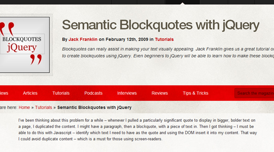 Semantic Blockquotes with jQuery